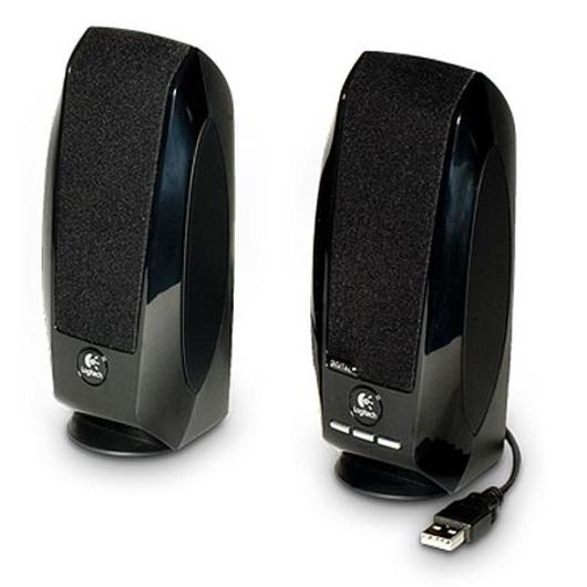 Logitech S150 2.0 Digital Speaker System, 5W RMS, Black, USB, Brown Box