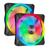 Corsair iCUE QL140 14cm PWM RGB Case Fans x2, 34 ARGB LEDs, Hydraulic Bearing, Lighting Node CORE Included