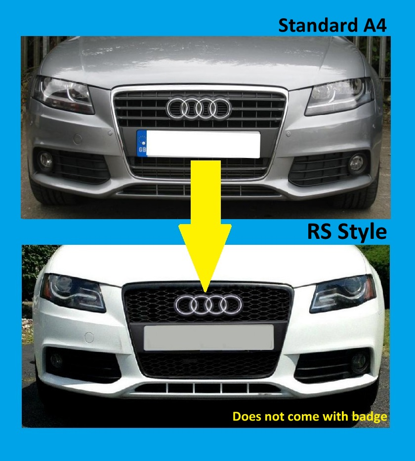 Gloss Black Front Grille Audi A4 B8 Honeycomb Mesh 2009