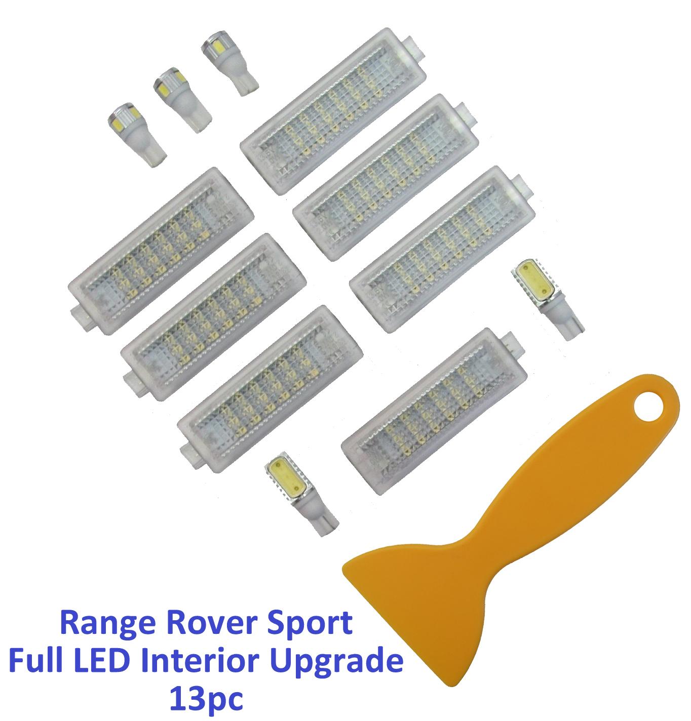 Full 13pc Led White Interior Light Kit Range Rover Sport 2005 13 Boot Roof Lamp Ebay