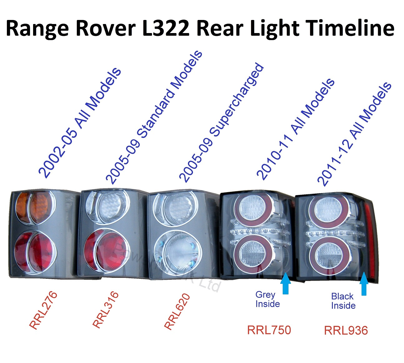 Pair Of 2012 Black Led Rear Lights For Range Rover L322 Conversion Audio Wiring Diagram Spec