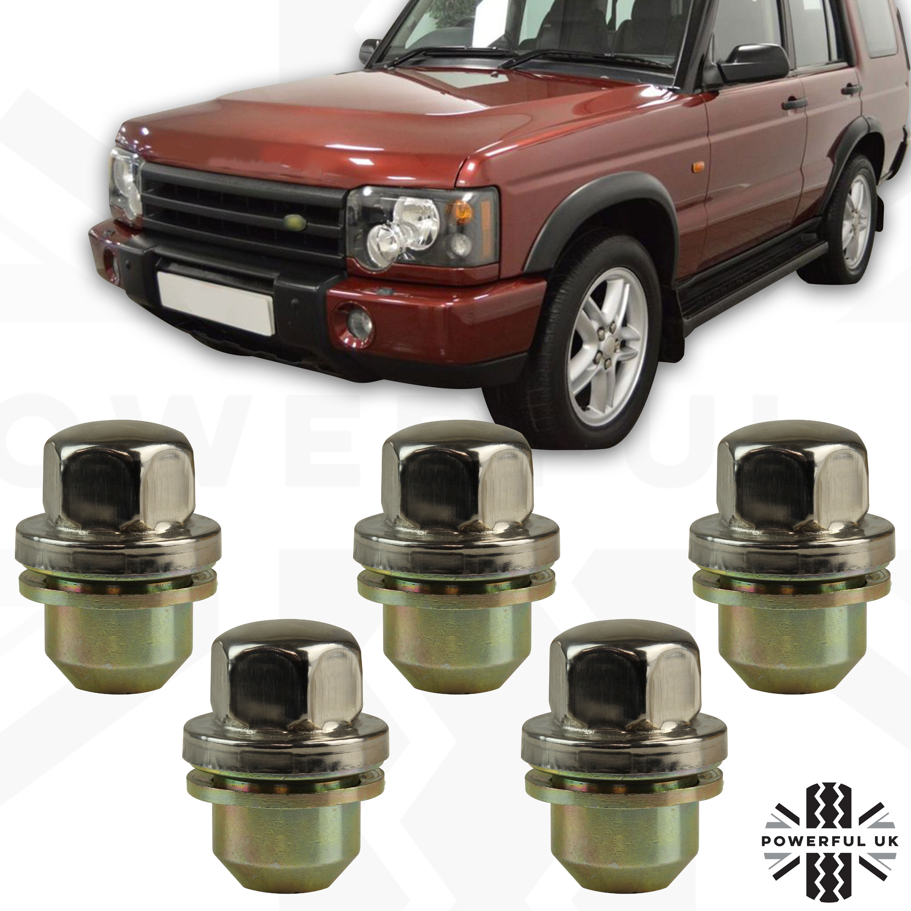 Mk2 98-04 14x1.5 Bolts for Land Rover Discovery Alloy Wheel Nuts Black 20