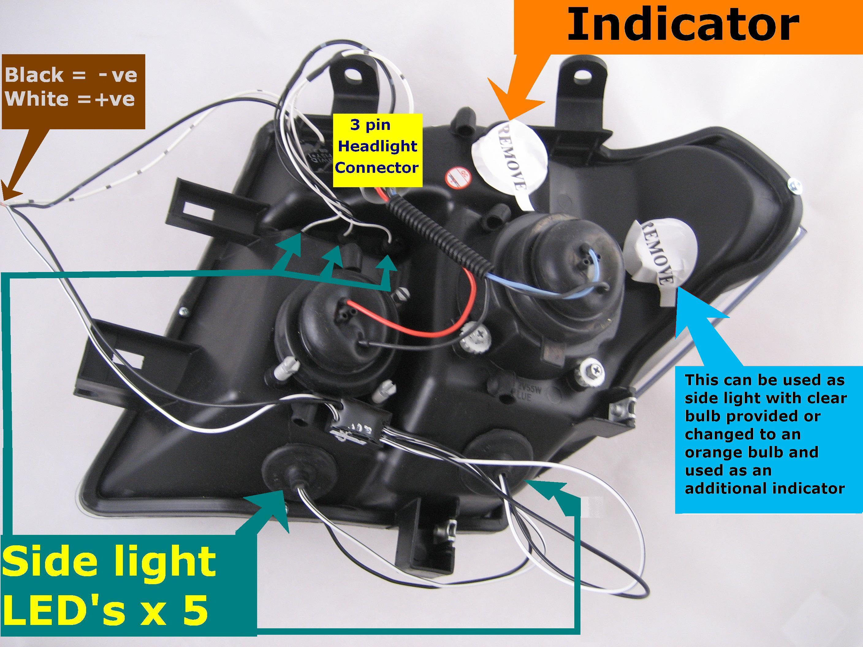 2005 Nissan Pathfinder Wiring Guide And Troubleshooting Of Trailer Harness Black Led Projector Headlights For Navara D40 Headlamps New Ebay Radio Stereo