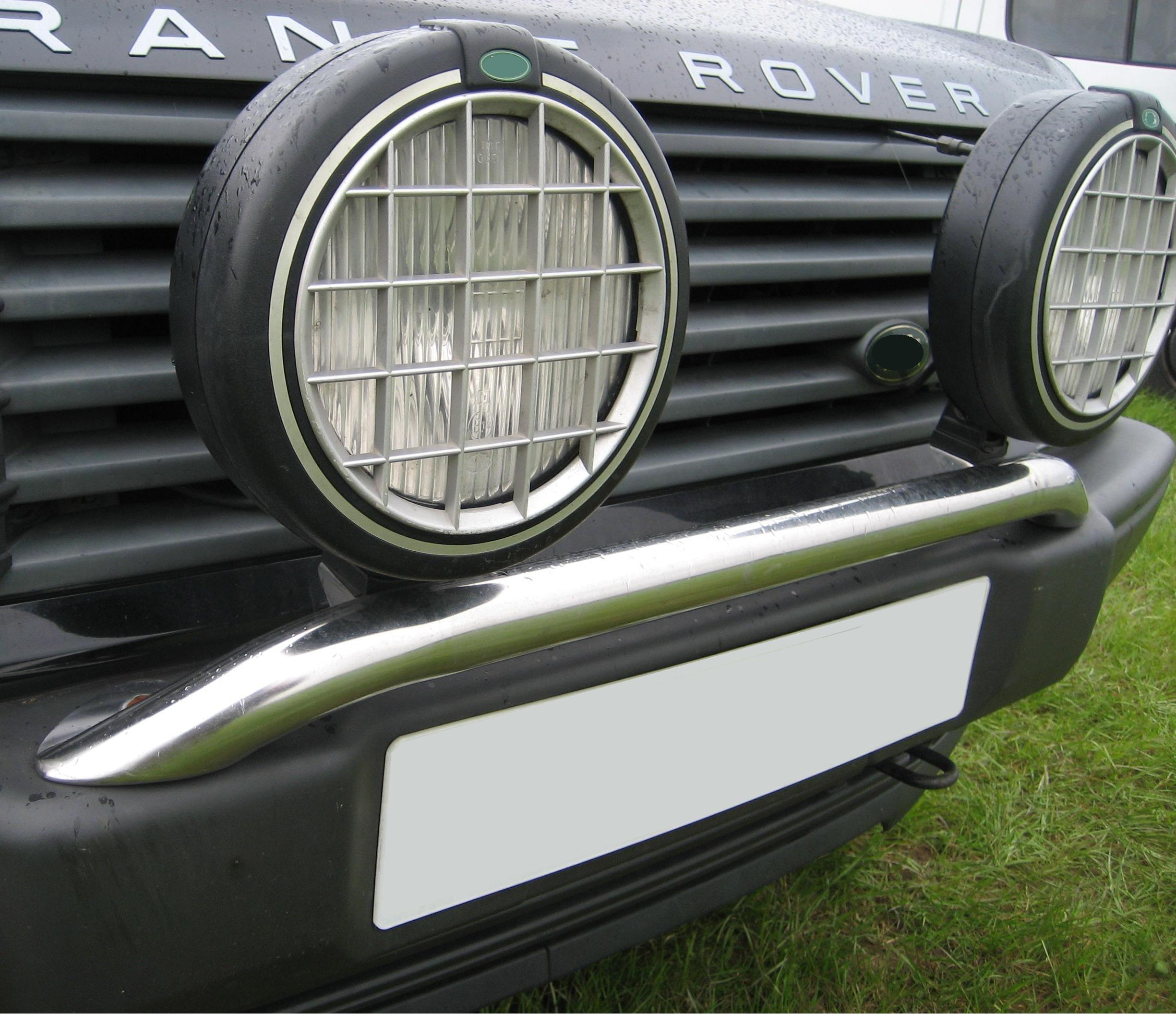 A Chrome Front Bumper Spot Light Mounting Bar For Range Rover P38
