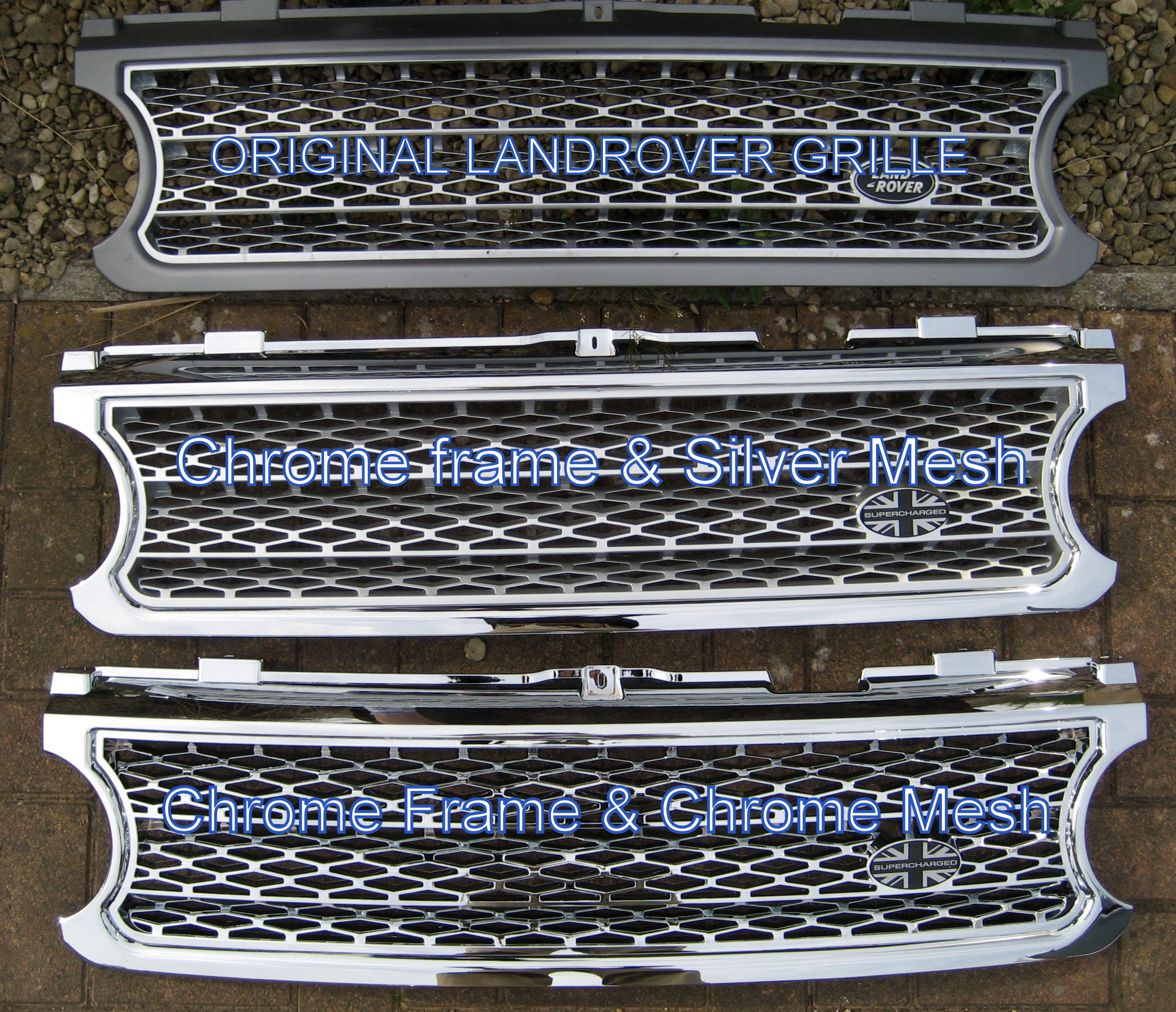Chrome Supercharged Front Grille For Range Rover L322