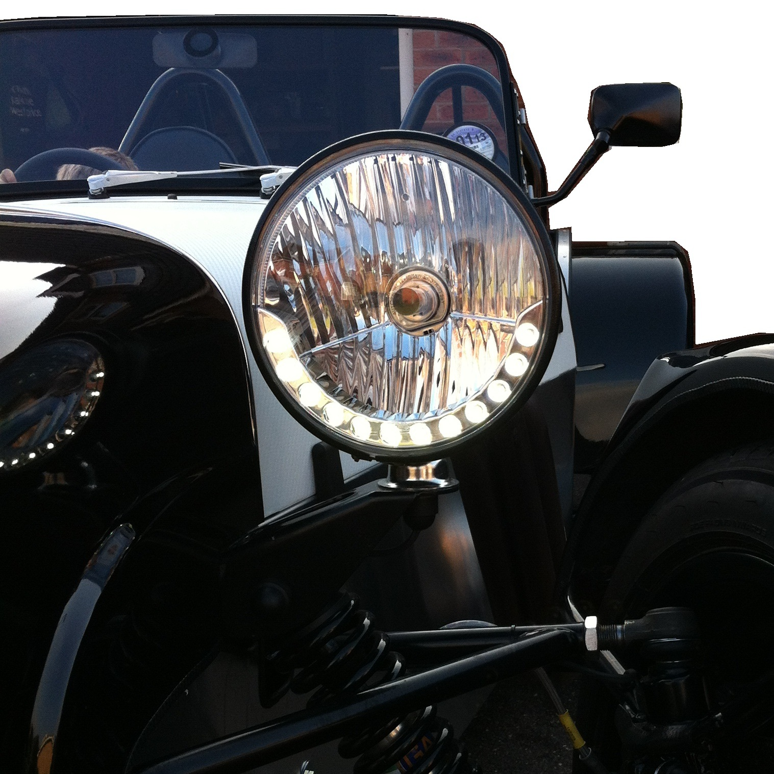 new 7 round led drl style kit car headlight leadlamp halogen westfield h4 lotus ebay. Black Bedroom Furniture Sets. Home Design Ideas