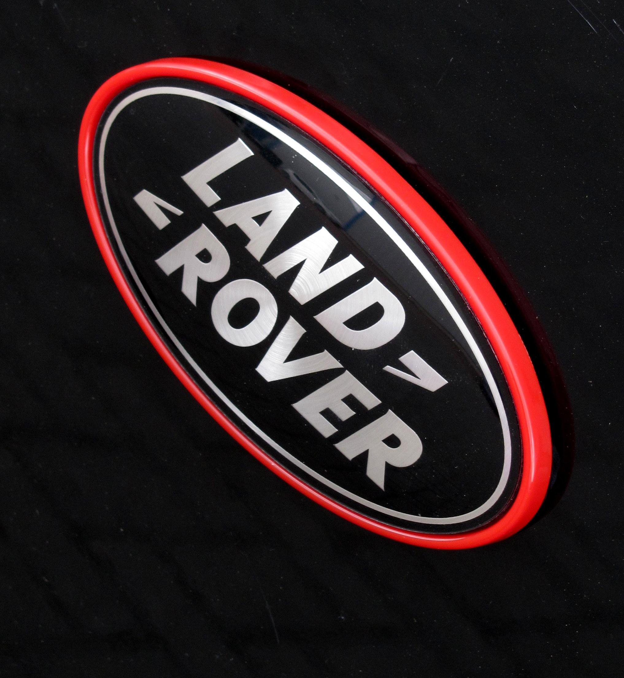 Black Silver Land Rover Badge Red Plinth Frame Surround Range