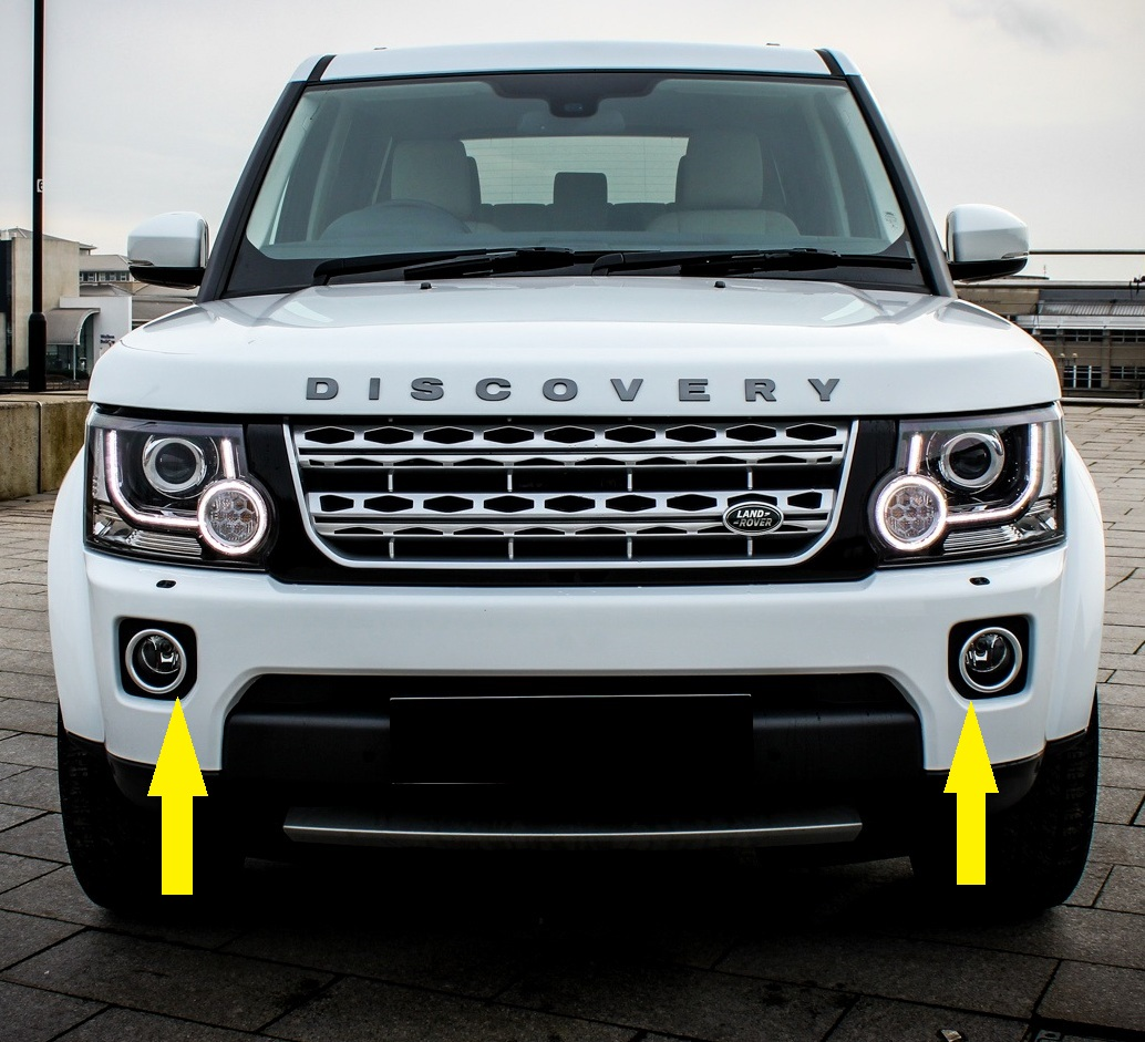 Front Bumper Chrome+Black FOG Lamp Bezels For LandRover
