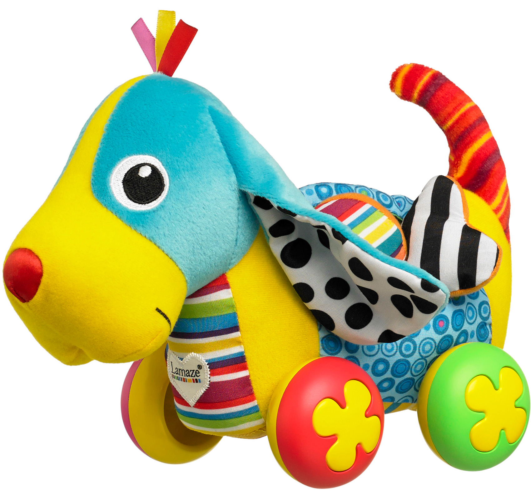 Lamaze PIPPIN THE PUSH ALONG PUP Dog Soft Toy Squeak Rattle Baby