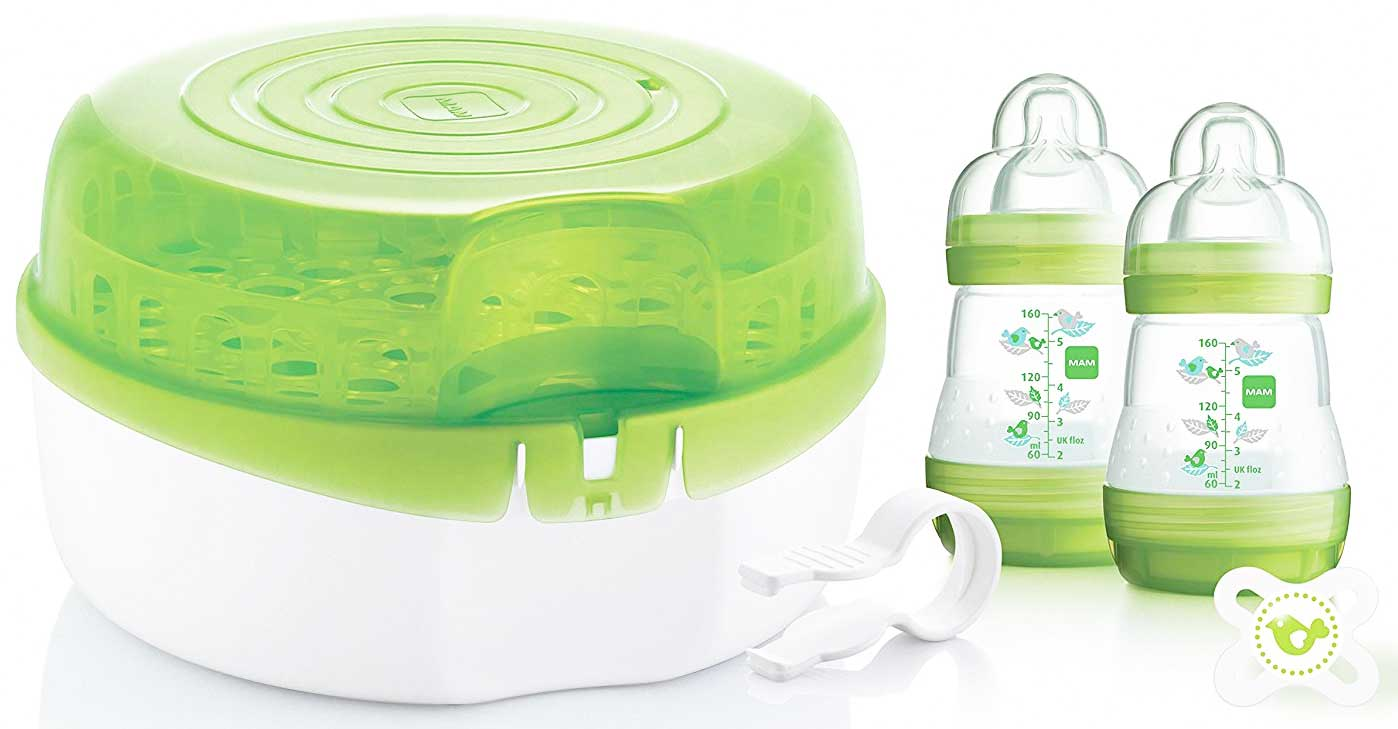 Mam Microwave Steam Steriliser Quick Safe Baby Bottle Feeding Drying Rack Bn