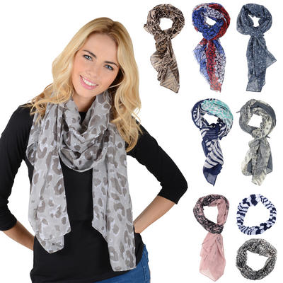 Ladies Lightweight Sheer Print Snood Scarf Stole Shawl