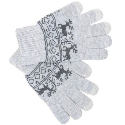 Mens Touch Screen Grey Gloves With Fairisle Style Reindeer Pattern