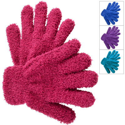 Childs Snow Soft Stretchy Gloves With Elasticated Cuff