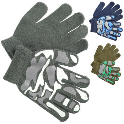 Boys Magic Stretch Gloves With Camo Palm Grip Print