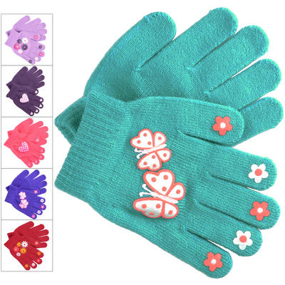 Girls Magic Stretch Gloves With Palm Grip Print