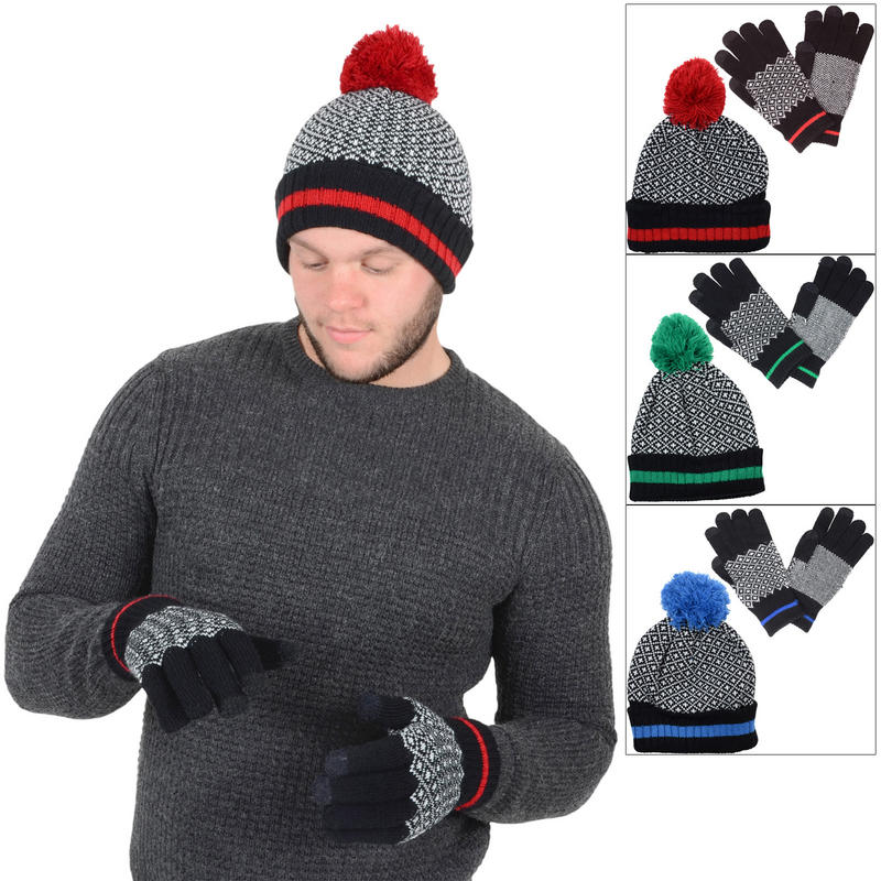 Mens Bobble Hat Knitting Pattern : Mens Black & White Fair Isle Style Accessory Set Bobble ...