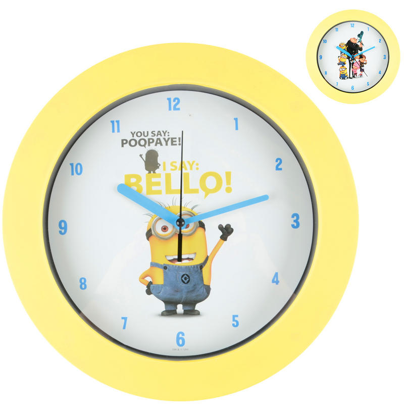despicable me 2 yellow wall clock with minion design
