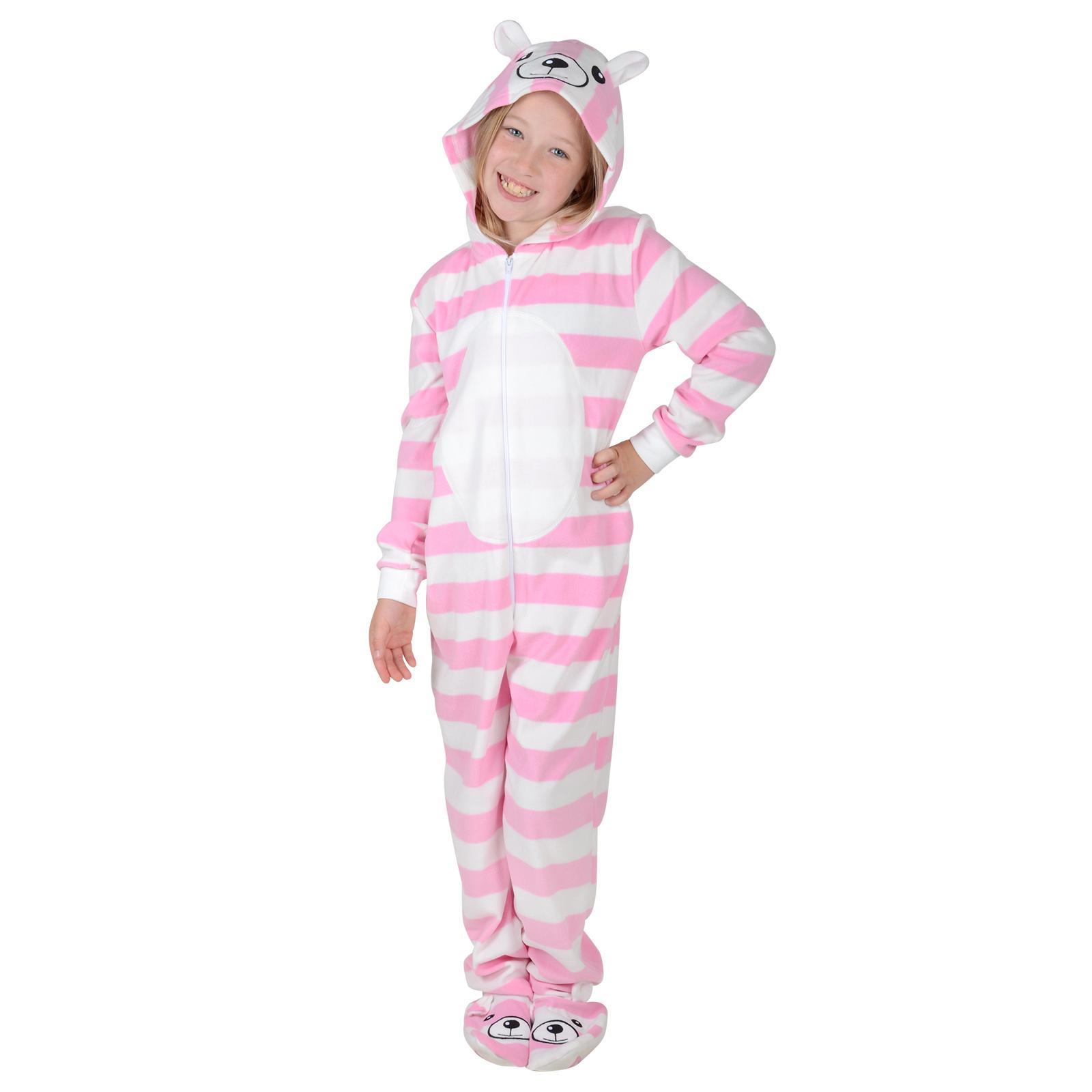 Girls Fleece All In One Onesie PJs Nightwear - Bear With ...