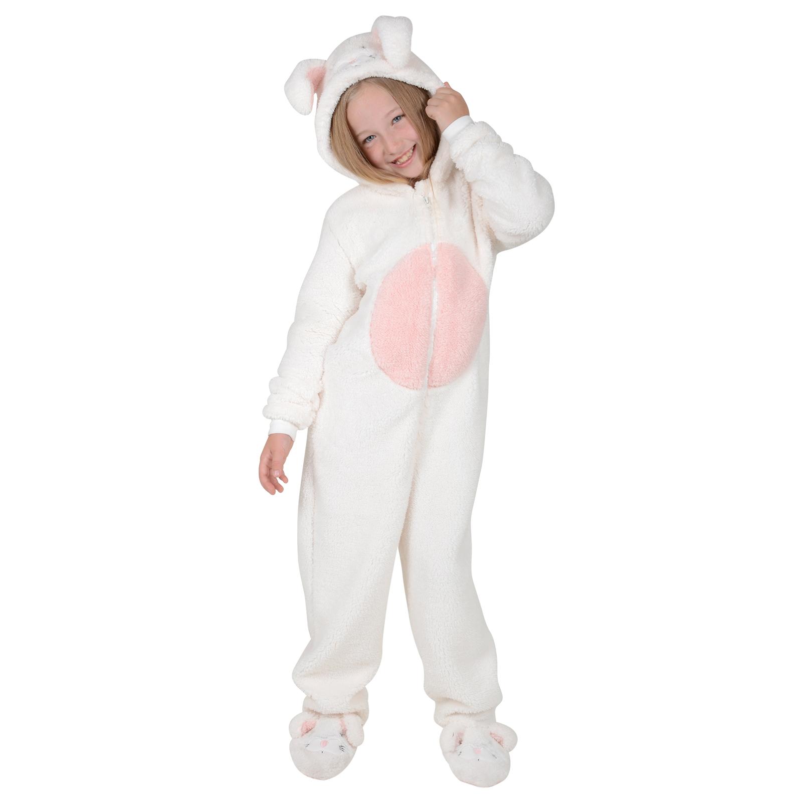Girls Fleece All In One Onesie PJs Nightwear - Bunny With ...