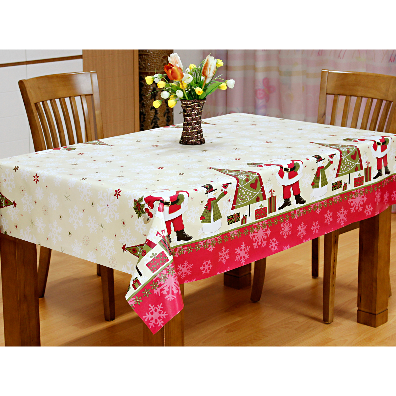 ... Red Cream Santas Wipe Clean Pvc Vinyl Tablecloth Table Cover Thumbnail  3 ...