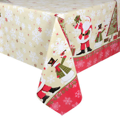 Red / Cream Santas PVC Wipe Clean Christmas Tablecloth Table Cover