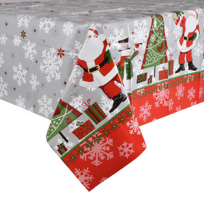 Red / Blue Santas PVC Wipe Clean Christmas Tablecloth Table Cover
