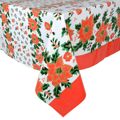 Poinsettia PVC Wipe Clean Christmas Tablecloth Table Cover