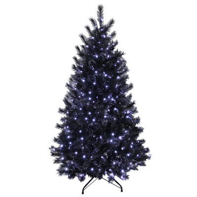 Black Glitter Christmas Tree Pre-Lit Bright White Lights