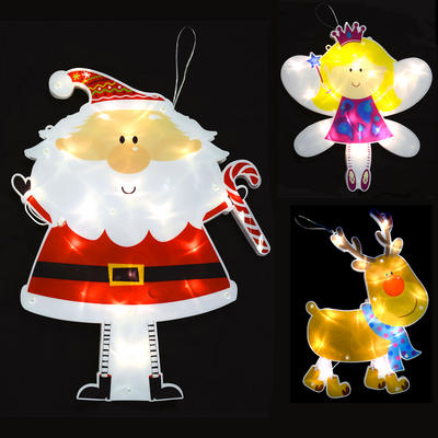 Double Sided Light Up Christmas Silhouette Decoration With 20 LEDs