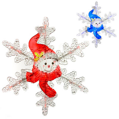 30cm Light Up Acrylic Snowman Snowflake Decoration