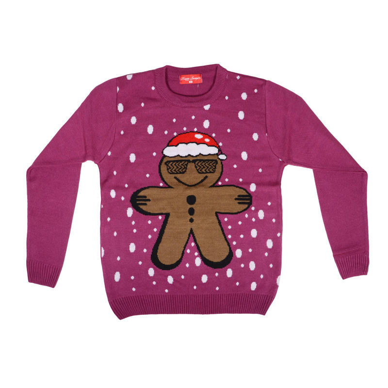 Unisex Adults Christmas Ginger Bread Man Knitted Novelty Jumper