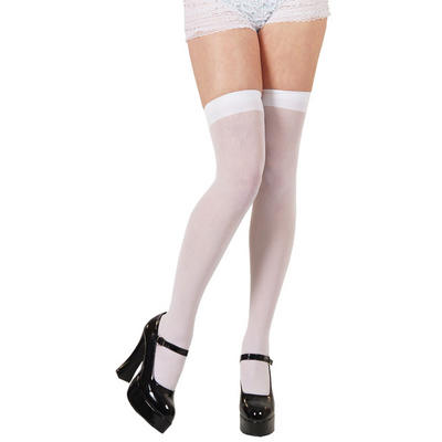 Ladies White Thigh Highs Fancy Dress Up Party Accessory New