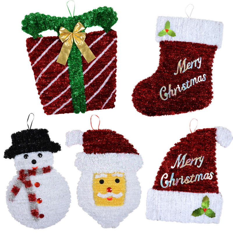 Bargain Bumper Pack Of 5 Large Tinsel Xmas Decorations