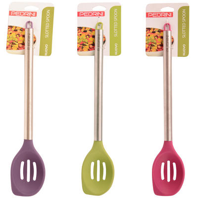 Pedrini Nuovo Silicone Slotted Spoon With Stainless Steel Handle