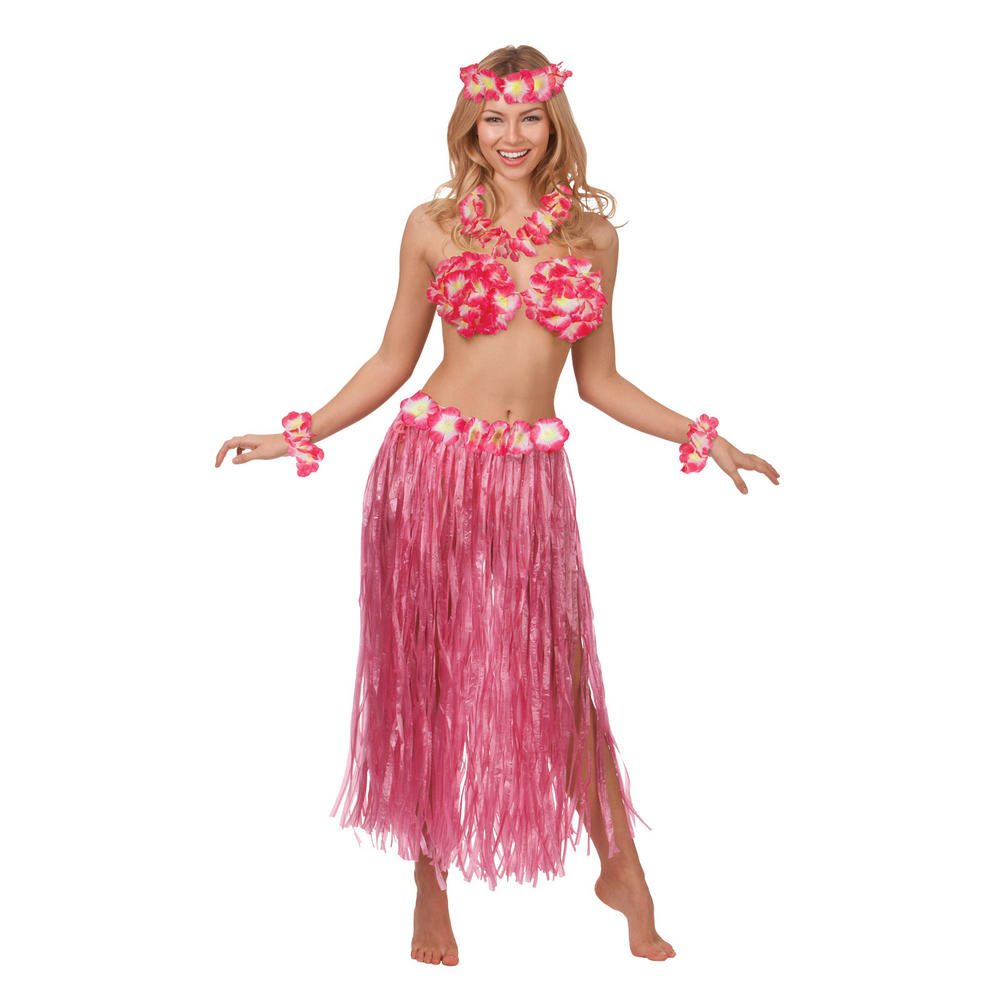 Ladies hot pink hawaiian honey fancy dress costume preview