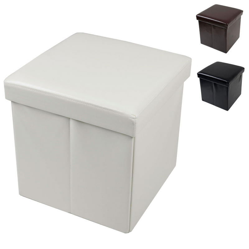 Faux Leather Folding Ottoman Storage Cube With Padded Lid