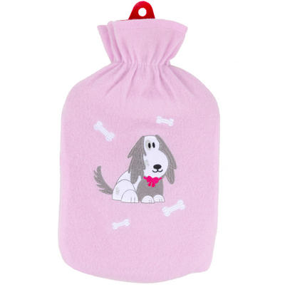 Hot Water Bottle & Lilac Fleece Cover With Cute Embroidered Dog