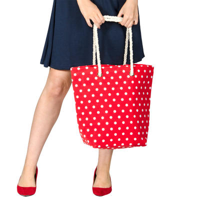 Ladies Canvas Beach Shoulder Tote Shopping Bag (Red / Polka Dots)