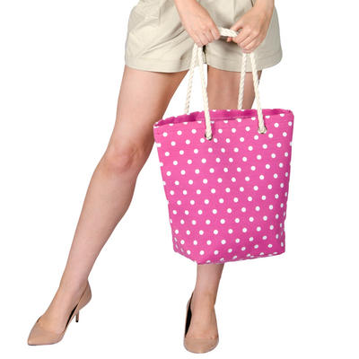 Ladies Canvas Beach Shoulder Tote Shopping Bag (Pink / Polka Dots)