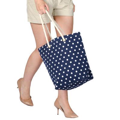 Ladies Canvas Beach Shoulder Tote Shopping Bag (Navy / Polka Dots)