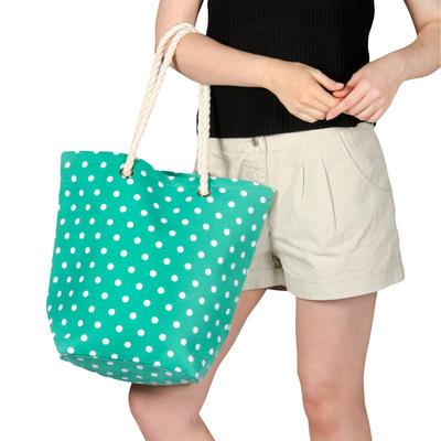 Ladies Canvas Beach Shoulder Tote Shopping Bag (Green / Polka Dots)