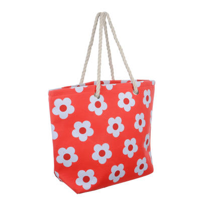 Ladies Canvas Beach Shoulder Tote Shopping Bag (Red / Flower)