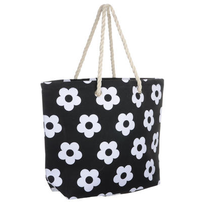 Ladies Canvas Beach Shoulder Tote Shopping Bag (Black / Flower)