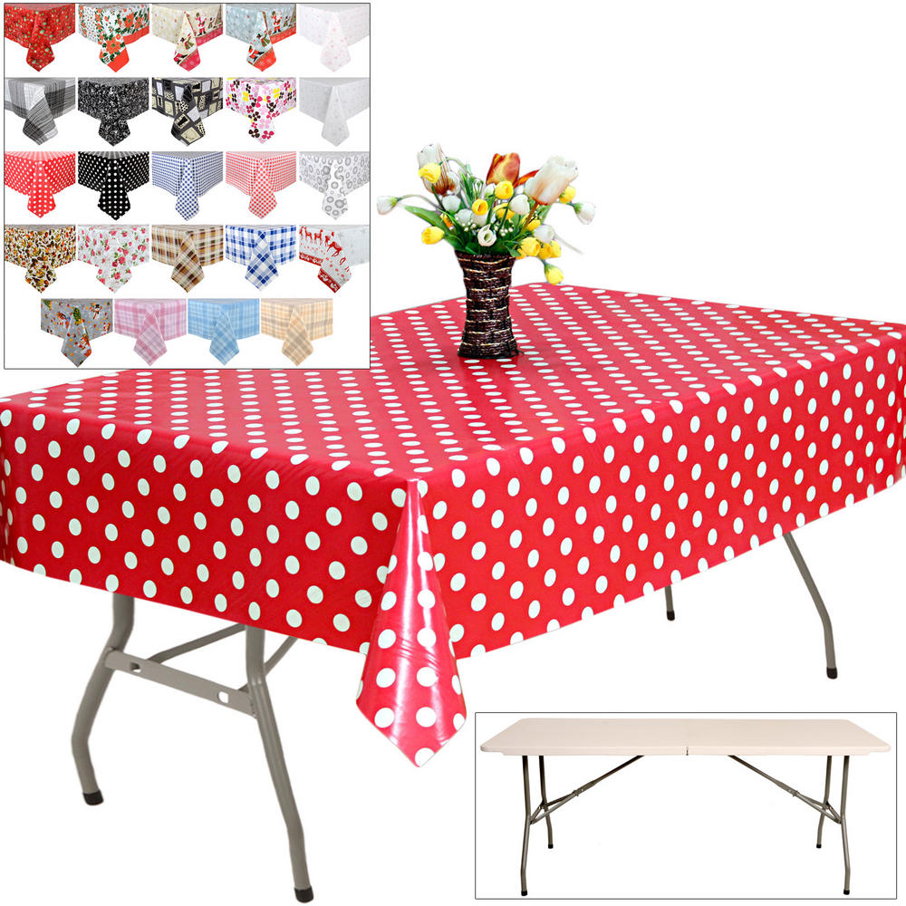 1.8m Folding Banquet Table With 2.4m PVC Table Cloth Cover Preview