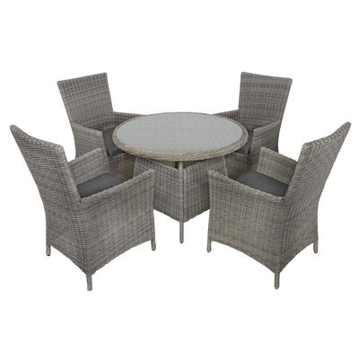 Belize Rattan Wicker 4-Seat Garden Furniture Table & Chairs Dining Set
