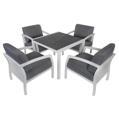 Cayman 4-Seat Aluminium Garden Furniture Chair & Dining Table Set