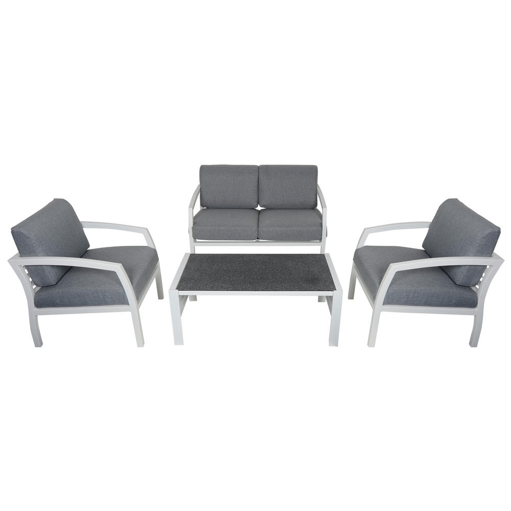 Cayman 4 seat aluminium garden furniture sofa coffee for Sofa coffee table