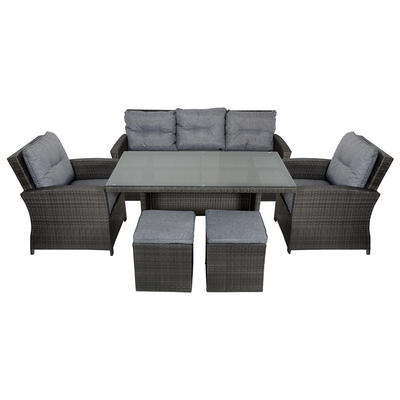 Jamaica Rattan Wicker 7-Seat Garden Furniture Table & Sofa Set