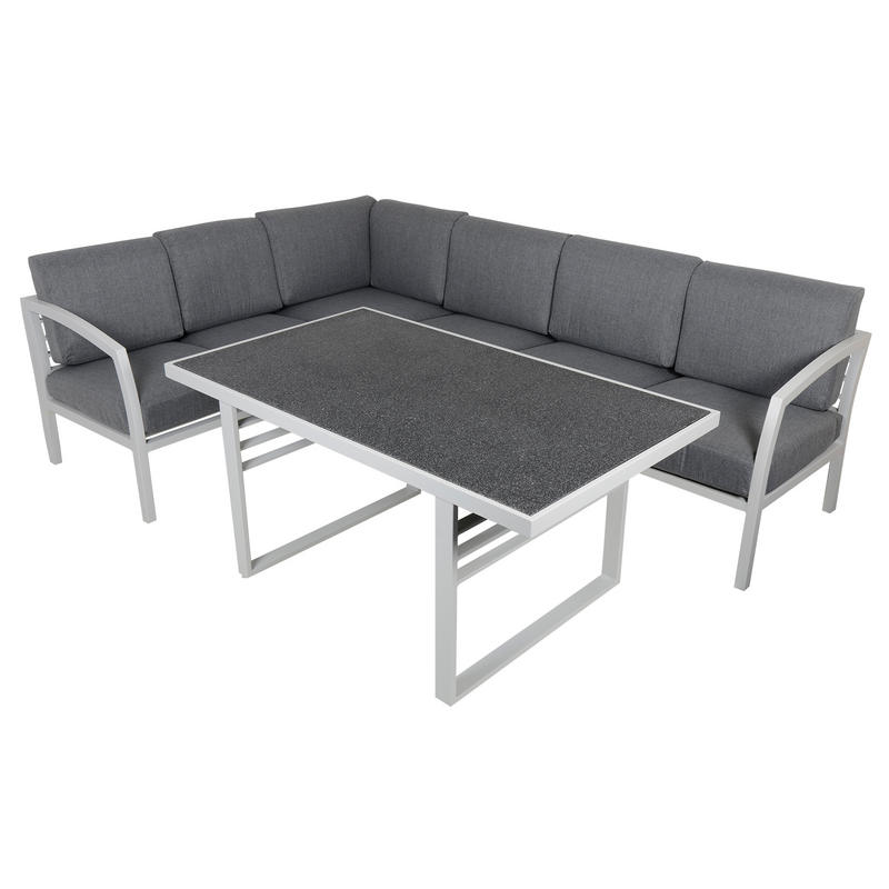 st lucia 6 seat aluminium garden furniture sofa dining table set
