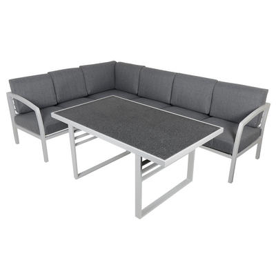 St Lucia 6-Seat Aluminium Garden Furniture Sofa & Dining Table Set